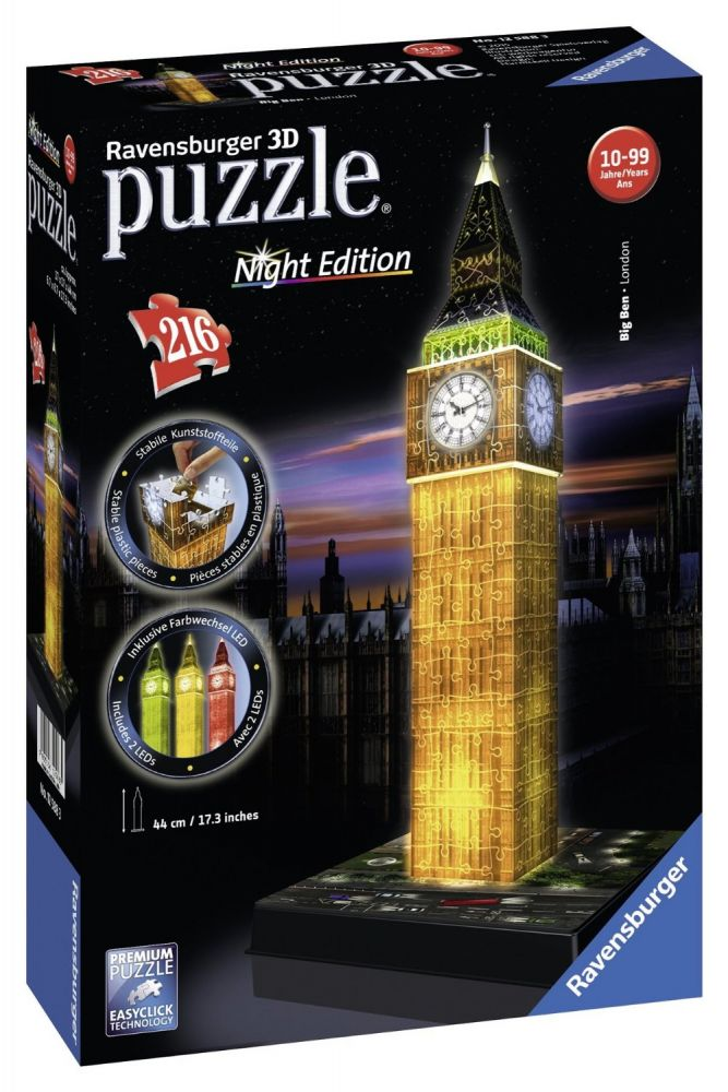 ravensburger big ben london night edition 3d grosshandel f r spielwaren und lizenzartikel. Black Bedroom Furniture Sets. Home Design Ideas