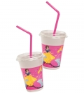 Disney Princess Party Favours - Milchshake-Becher Set (12 Becher, 12 Deckel, 12 Trinkhalme)
